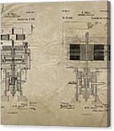 Nikola Tesla's Electrical Generator Patent 1894 Canvas Print