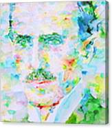 Nikola Tesla Watercolor Portrait Canvas Print
