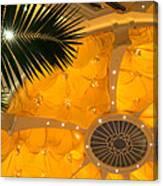 Sunshine Yellow Silk Decor With Stars Canvas Print