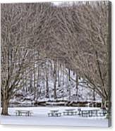 Snowy Picnic Ground In Winter Canvas Print