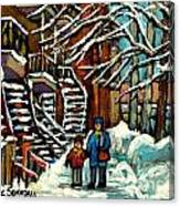 No School Today Out For A Snowy Walk Verdun Winter Winding Staircases Montreal Paintings C Spandau Canvas Print