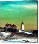 Nobska Lighhouse In Winter Canvas Print