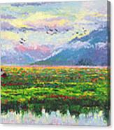 Nomad - Alaska Landscape With Joe Redington's Boat In Knik Alaska Canvas Print