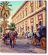 Noon At Cathedral Square. Seville Canvas Print