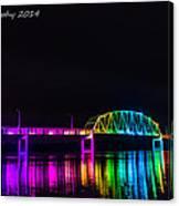 Norbert F. Beckey Bridge In Rainbow Lighting Canvas Print
