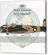 North American B-25j Mitchell Yellow Rose Canvas Print