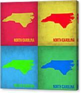 North Carolina Pop Art Map 1 Canvas Print