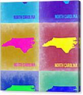 North Carolina Pop Art Map 2 Canvas Print