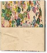 North Dakota Map Vintage Watercolor Canvas Print