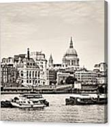 North Side Of The Thames Bw Canvas Print