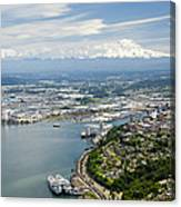 Northend And Downtown Tacoma, Port Canvas Print