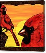 Northern Cardinals At Sunrise Canvas Print