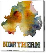 Northern Ireland Watercolor  Map Canvas Print