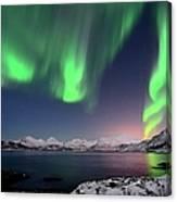 Northern Lights And Moonlit Landscape Canvas Print