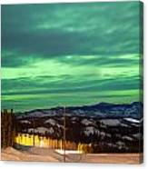 Northern Lights Aurora Borealis Over Rural Winter Canvas Print