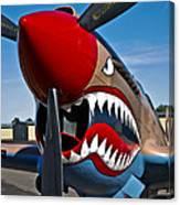 Nose Art On A Curtiss P-40e Warhawk Canvas Print