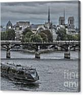 Notre Dame And Boat On The River Seine Paris Canvas Print