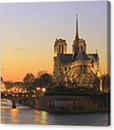 Notre Dame Cathedral At Sunset Paris France Canvas Print