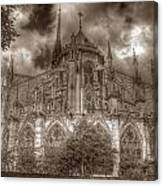Notre Dame From East Garden Canvas Print