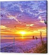 Nsb Lifeguard Station Sunrise Canvas Print
