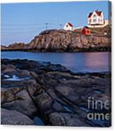 Nubble Light Along Maine's Rugged Coast York Beach Maine Canvas Print