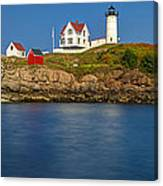 Nubble Light And A Clear Blue Sky Canvas Print