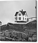 Nubble Lighthouse Cape Neddick Maine Black And White Canvas Print