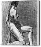 Nude Female Figure Drawing Canvas Print