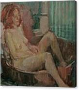 Nude In Old Tub, 2008 Oil On Canvas Canvas Print