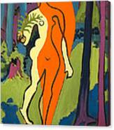 Nude In Orange And Yellow Canvas Print