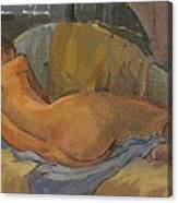 Nude On Chaise Longue Canvas Print