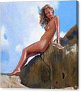 Nude On The Rocks Canvas Print