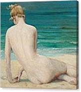 Nude Seated On The Shore Canvas Print