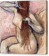 Nude Seated Woman Arranging Her Hair Femme Nu Assise Se Coiffant Canvas Print