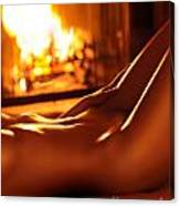 Nude Shiny Woman Body In Front Of Fireplace Canvas Print