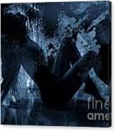 Nude Silhouette In Moonlight Canvas Print