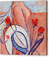 Nude With A White Hat Canvas Print