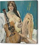 Nude With Guitar Canvas Print