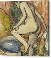 Nude Woman Wiping Herself After The Bath Canvas Print