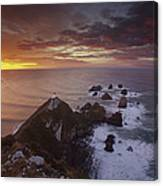 Nugget Point Lighthouse At Sunrise Canvas Print