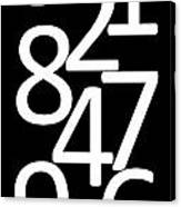 Numbers In Black And White Canvas Print