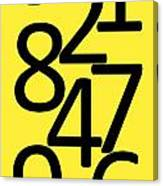 Numbers In Black And Yellow Canvas Print