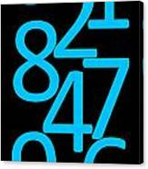 Numbers In Blue And Black Canvas Print