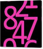 Numbers In Pink And Black Canvas Print