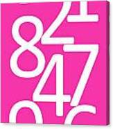 Numbers In Pink And White Canvas Print