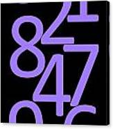 Numbers In Purple And Black Canvas Print