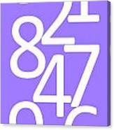Numbers In White And Purple Canvas Print