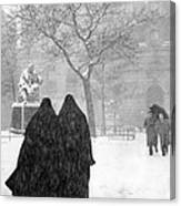 Nuns In Snow New York City 1946 Canvas Print
