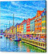 Nyhavn In Denmark Painting Canvas Print
