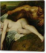 Nymph And Satyr Canvas Print